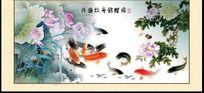 荷花锦鲤图