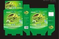 木糖醇绿茶鸡蛋卷包装盒平面展开图(附带刀模)