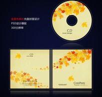 金黄色秋天枫叶光盘封面设计psd