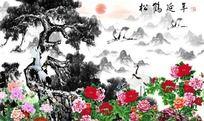 送鹤延年国画图片