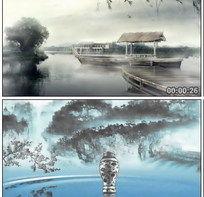 中国风青花瓷LED大屏幕视频素材水墨风舞台晚会演出古典背景素材