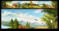 山村油画 乡村田园风景画