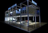 奔驰汽车展台3d模型设计