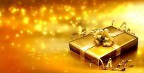金色礼品盒包装金光粒子高清视频素材