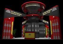 红色3D吉他展台max模型