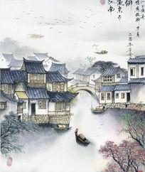 江南山水国画图片 PSD
