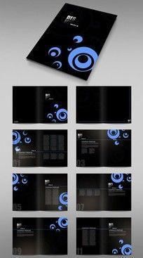 蓝色黑色创意画册排版素材