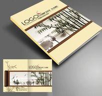 中国风水墨风景卷轴画册封面设计PSD