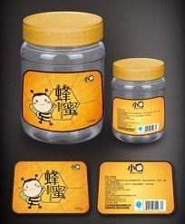 蜂蜜瓶贴标签设计 AI