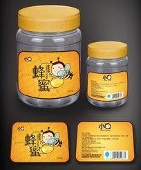 小Q蜜瓶装蜂蜜包装设计 AI