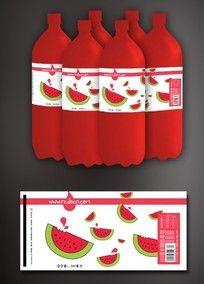 西瓜饮料瓶贴设计