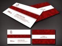 红色花纹底纹名片
