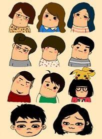 卡通人物头像插画