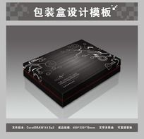 黑色电子产品包装盒平面图与效果图