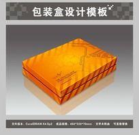 桔黄色电子产品包装盒平面图与效果图