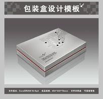 银色电子产品包装盒平面图与效果图 CDR