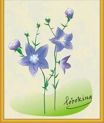 一副矢量绘制的紫色小花