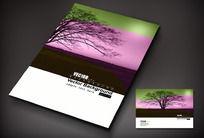 浅紫色背景上的大树封面