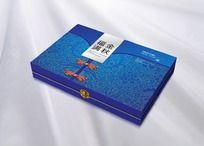 蓝色中式盘扣图案月饼包装