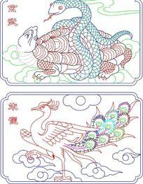 四神兽之朱雀玄武线描插画
