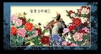 富贵牡丹花鸟国画