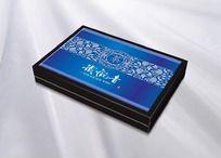 蓝色背景图案茶叶包装盒设计