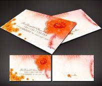橙色花朵图案名片