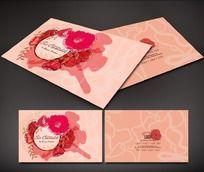 粉色背景花朵图案名片