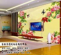 牡丹花开富贵背景墙装饰画