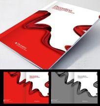 红色飘带企业画册封面