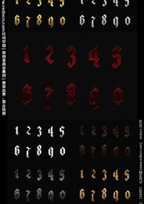 哥特样式数字字体设计