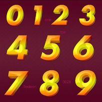 金黄色立体数字