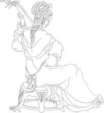 琵琶古装女人矢量图