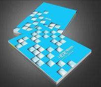 蓝色立体方块画册封面设计
