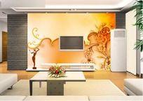 金色客厅电视背景墙