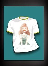 卡通女孩图案T恤 PSD