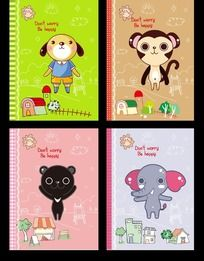 可爱动物笔记本封面