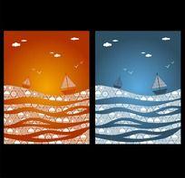 抽象波浪帆船装饰画