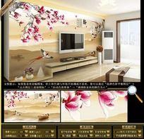 玉兰花电视墙背景