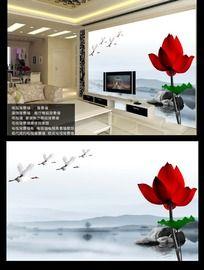 中国风荷花室内背景墙