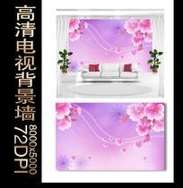 简约花卉电视背景墙