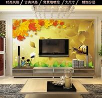 12款 枫叶背景客厅电视背景墙设计PSD下载