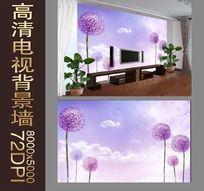大花葱花朵图案电视背景墙
