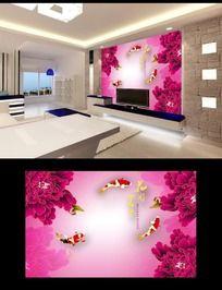花开富贵牡丹图案电视背景墙