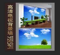 蓝天绿地电视背景墙