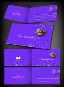 蓝紫色圣诞贺卡