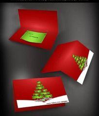 绿色抽象圣诞树背景贺卡