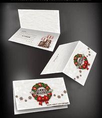 圣诞装饰花环图案贺卡