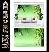 清新竹林背景墙