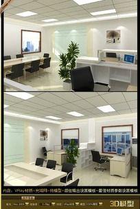 简洁办公室装饰3D模型